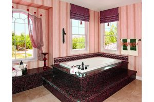 Melissa Bathroom with a white tub incased in a reddish pink marble