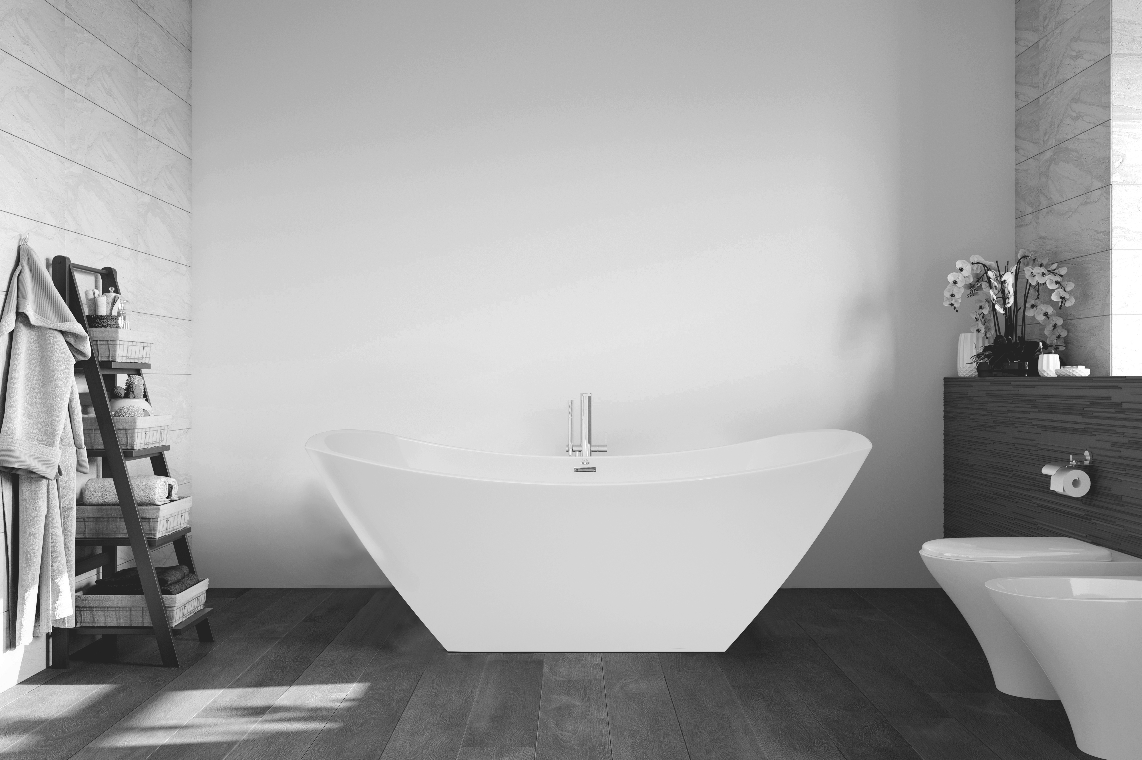 with gallery wall d effect modern bath grey wet a around shaped sparkle bathtub waterfall img mixed white photo mosaic
