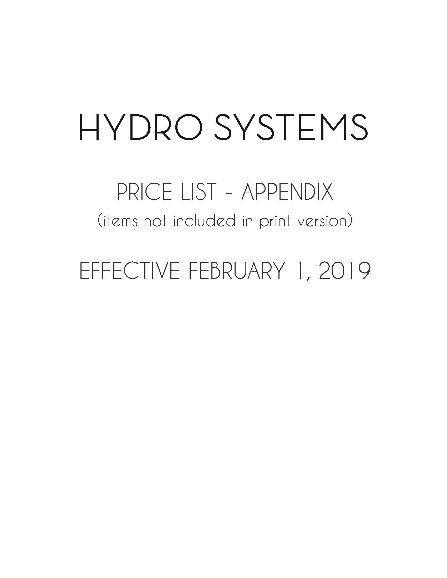 hydro systems price list appendix effective february 1 2019