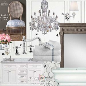 numbered options, with a chair, chandelier, fireplace mantle, facet, sink and bathtub