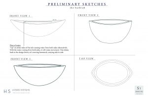 preliminary sketches for the bathtub by Shani Tal