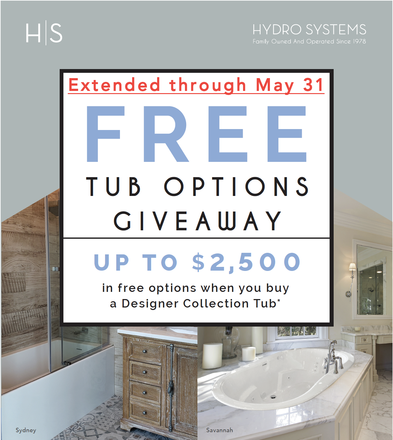 Free Tub Options Giveaway - Extended through May 31