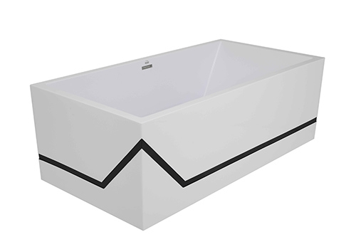 millennium 45 angle tub white with a black line accent