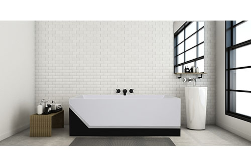 Millennium Black with Chrome Beauty, in a white subway tiled bathroom