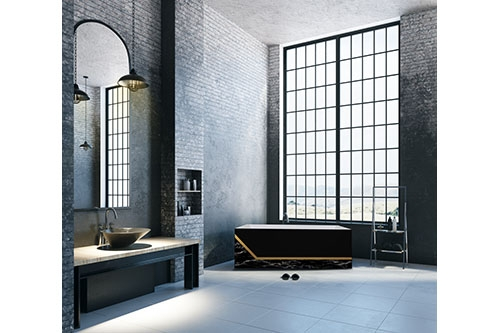 Millennium Black with Marble Beauty, it a large bathroom with floor to ceiling windows